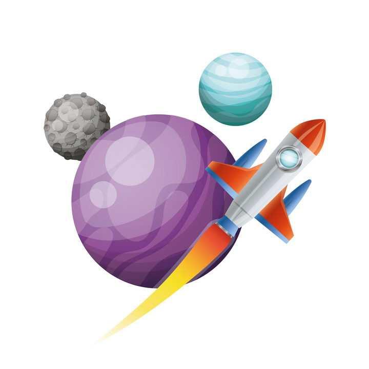 卡通小火箭飞行在其他星球上科技免抠矢量图片素材