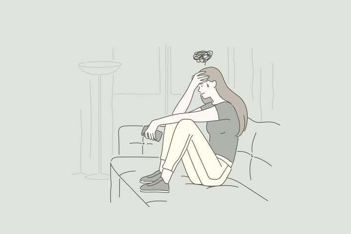 烦恼抑郁症女孩手绘插画图片免抠素材