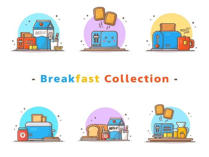 MBE风格早餐吃牛奶面包图片免抠素材