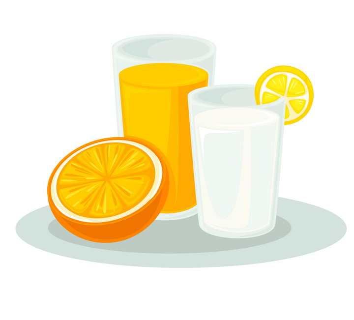 扁平插画风格橙汁牛奶果汁饮料图片免抠素材