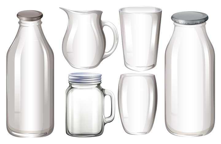 6款半透明玻璃瓶玻璃杯图片免抠素材