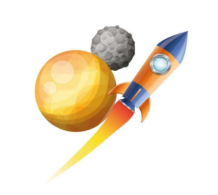 卡通在外太空其他星球上飞行的小火箭免抠矢量图片素材