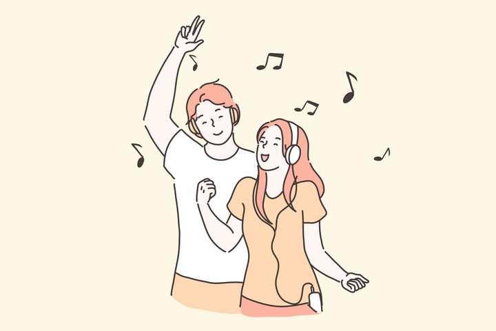 手绘彩色上色线条漫画风格一起听音乐的情侣图片免抠素材