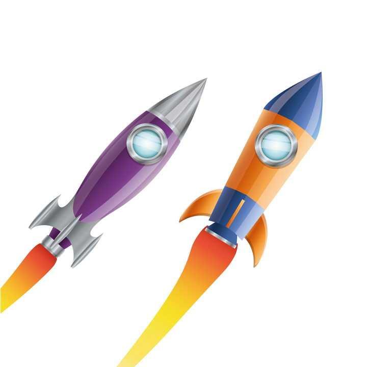 两款不同造型的卡通小火箭飞行器免抠矢量图片素材