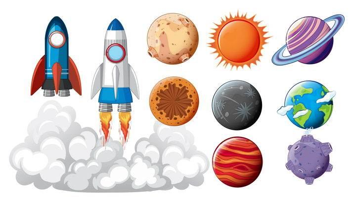 各种卡通风格太阳系八大行星起飞的火箭图片免抠素材