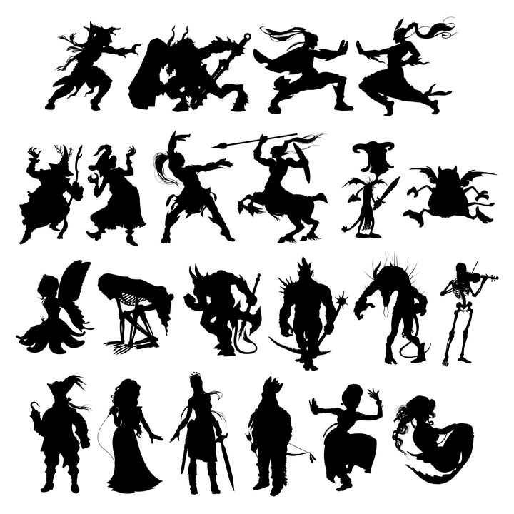 22种神话人物剪影图片免抠素材