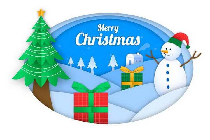剪纸叠加风格圣诞节快乐雪人圣诞树和礼物免抠图片素材