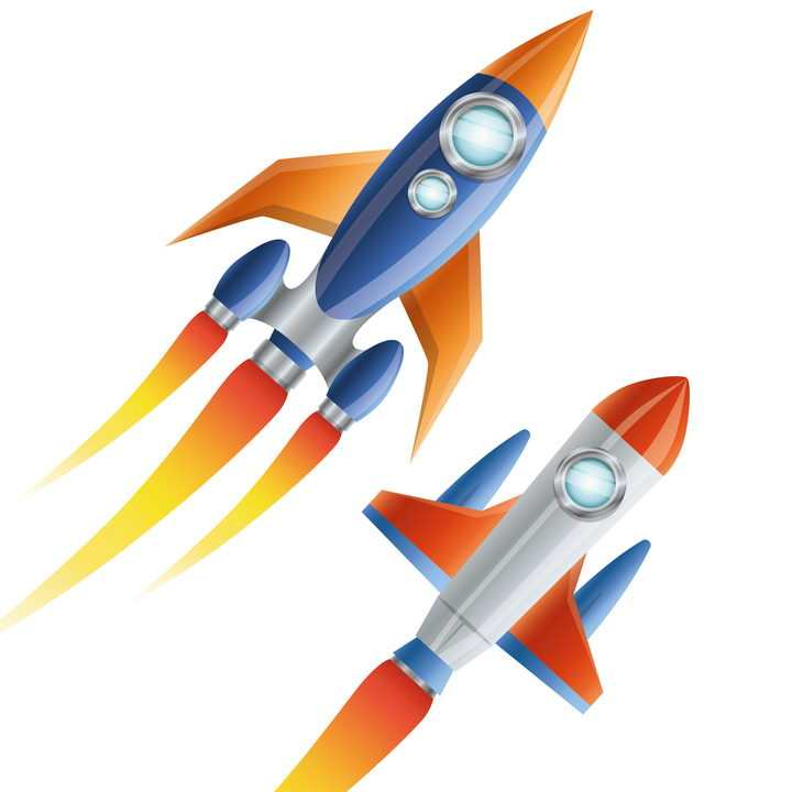 两种风格不一样的卡通小火箭免抠矢量图片素材
