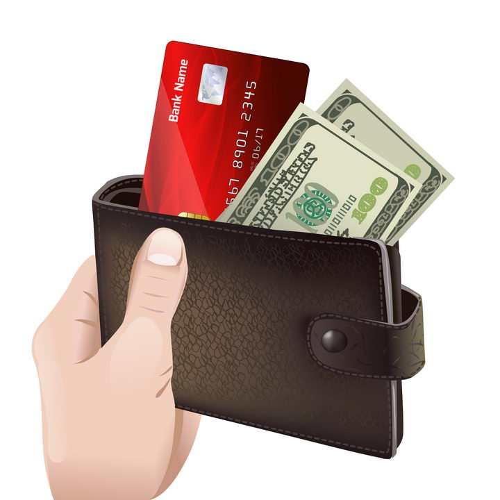 单手拿着的钱包钱夹子银行卡美元纸币免抠矢量图片素材