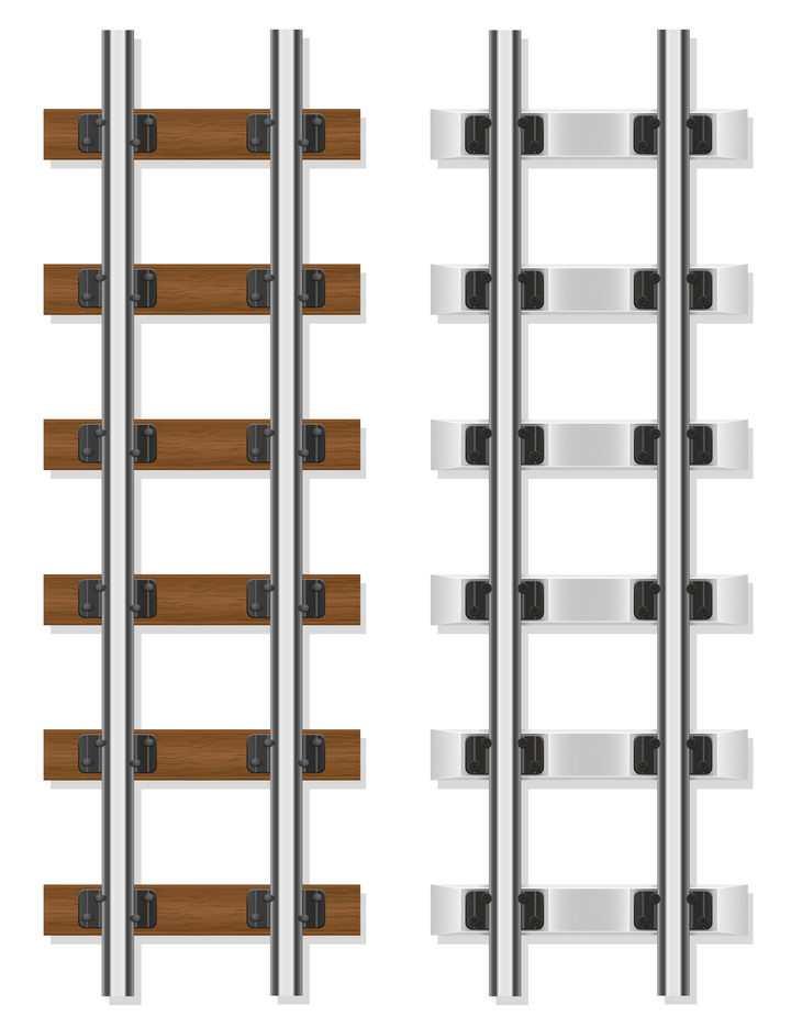 两种不同风格的火车列车铁轨轨道俯视图免抠矢量图片素材