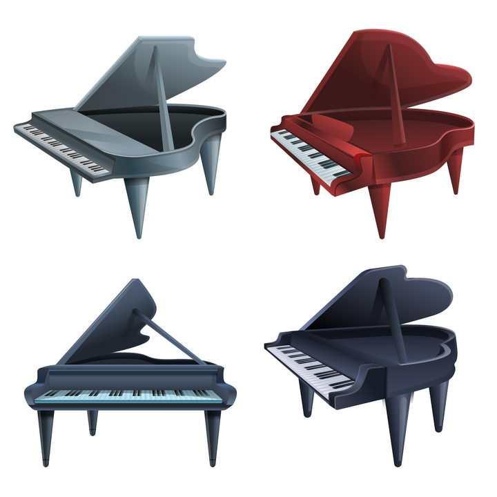 4款不同颜色的卡通钢琴免抠图片素材