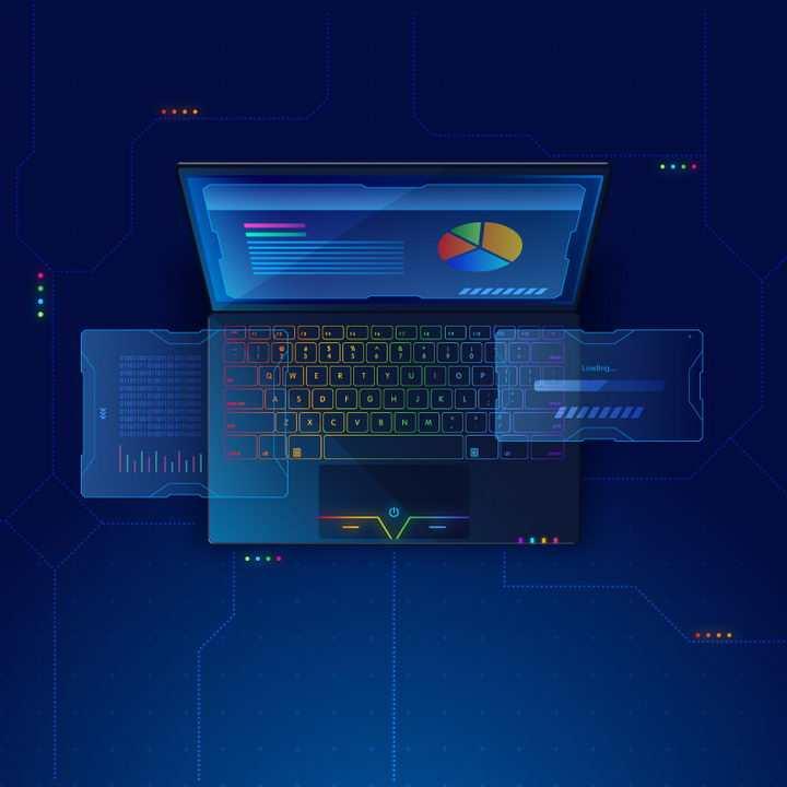超酷的深蓝色笔记本电脑配图立体插图免抠矢量图片素材
