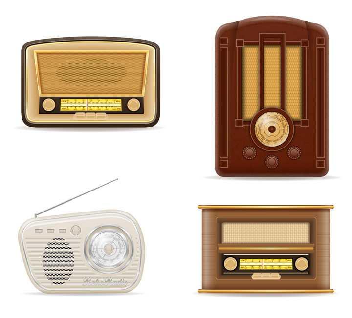 四款古老复古风格的收音机免抠矢量图片素材
