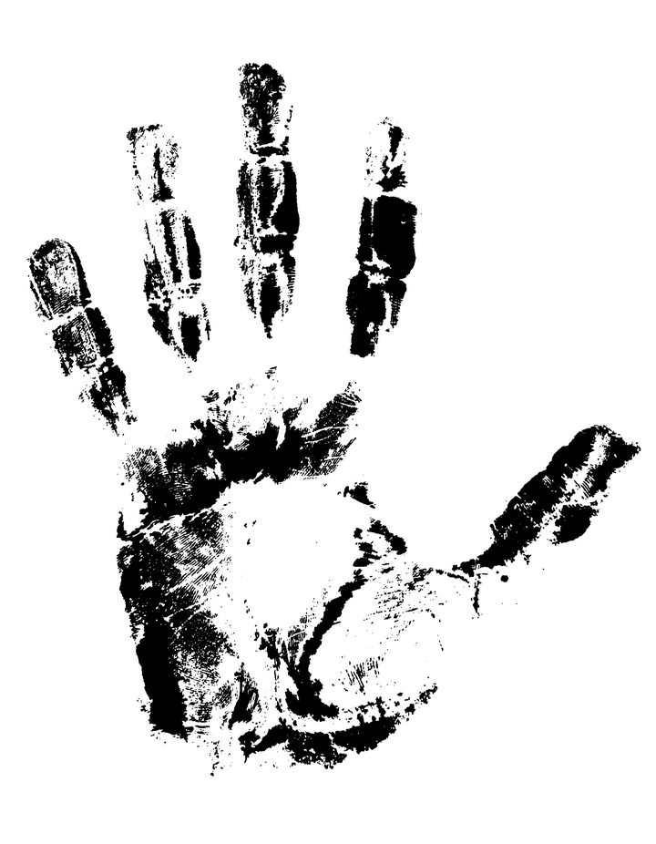 黑色泼墨涂鸦风格的手掌印掌纹免抠矢量图片素材