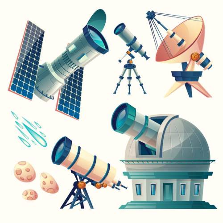 卡通插画风格哈勃望远镜射电望远镜天文望远镜等天文科普图片免抠素材