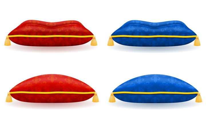 4款不同的抱枕枕头侧视图免抠矢量图片素材