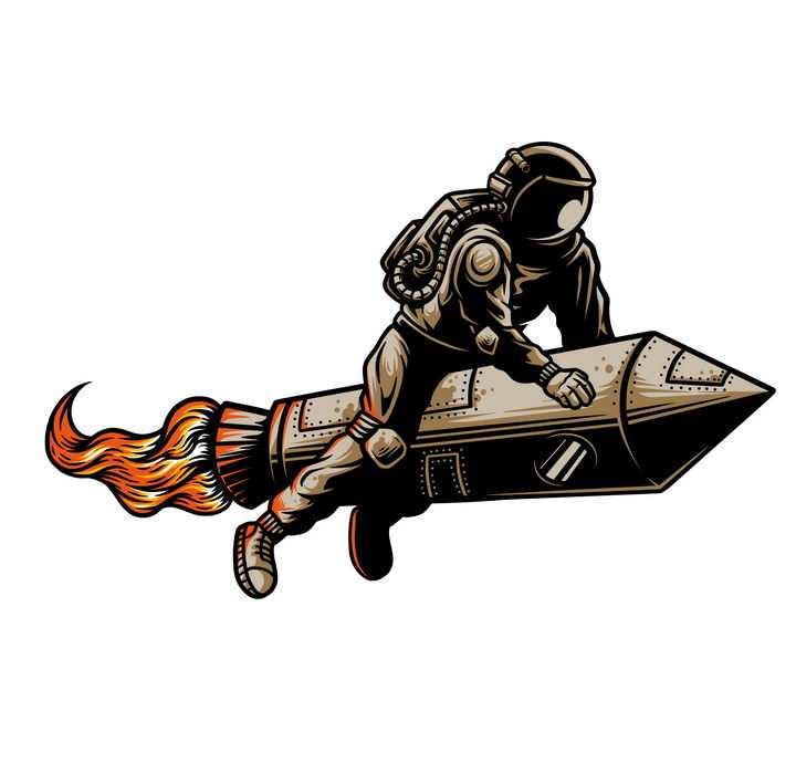 漫画风格坐在火箭上的宇航员免抠图片素材