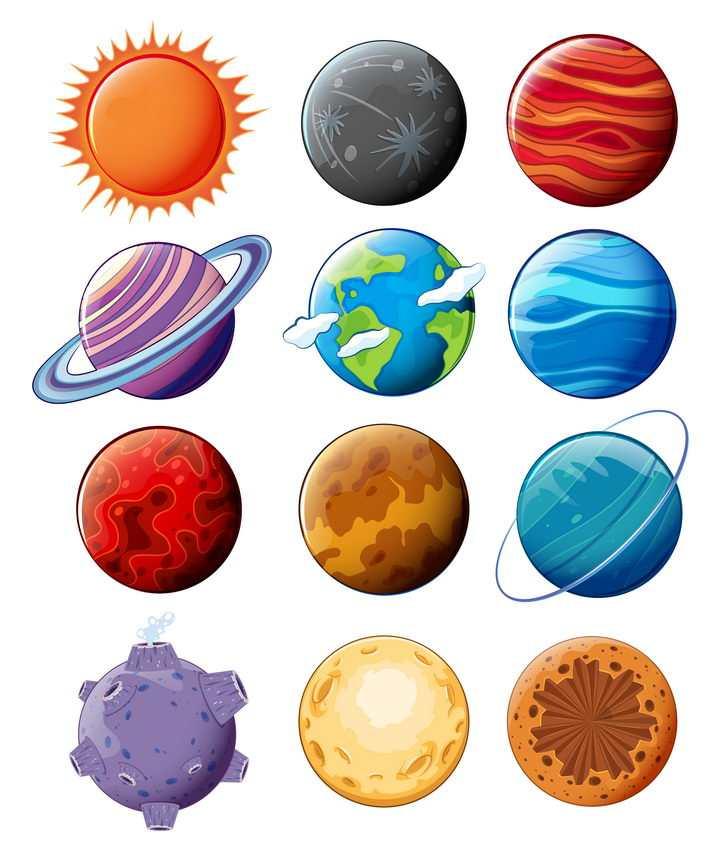 12款卡通风格太阳系八大行星天文科普图片免抠素材