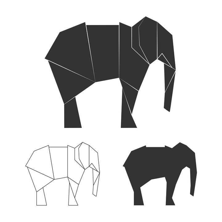 简洁黑白色折纸风格大象图片免抠素材