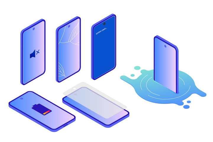 紫色渐变色风格智能手机图片免抠素材