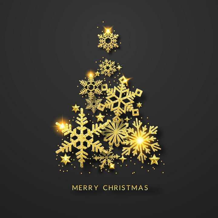 创意金色雪花图案组成的圣诞树装饰免抠图片素材