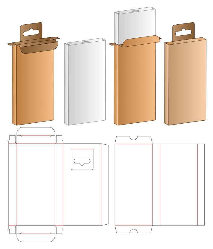 一款棕色手提包装箱盒子分解图的正反面图片免抠矢量素材