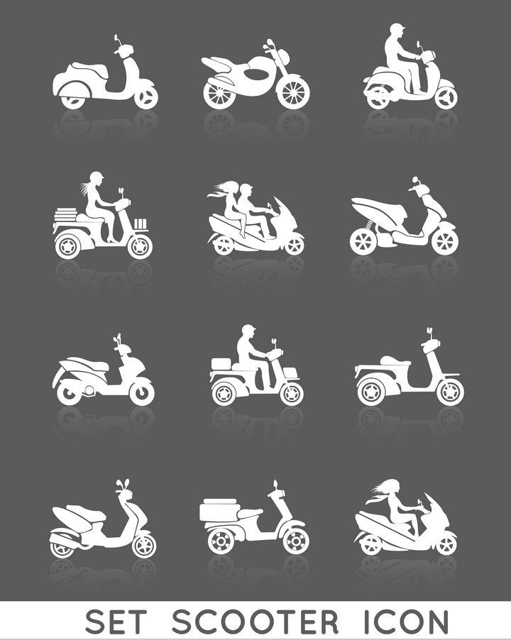 12款白色电动车和骑电动车的男孩女孩剪影免抠矢量图片素材 交通运输-第1张