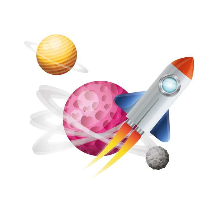 可爱的卡通小火箭飞行在宇宙中免抠矢量图片素材