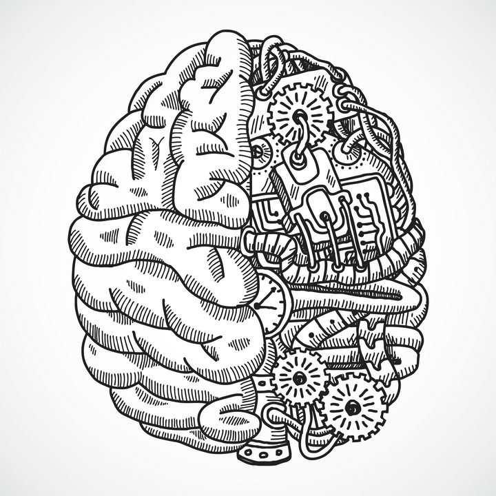 创意黑色线条组成的抽象机械大脑结构图免抠矢量图片素材