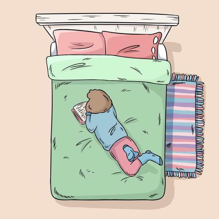 彩绘手绘卡通在床上看书的女孩图片免抠素材