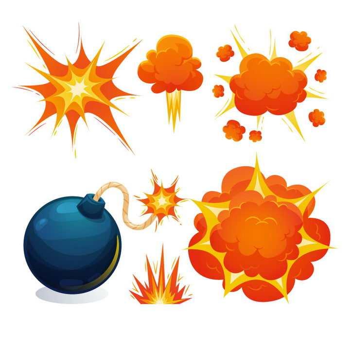 蓝色燃烧的球形炸弹和橙色的漫画风格爆炸效果图片免抠素材
