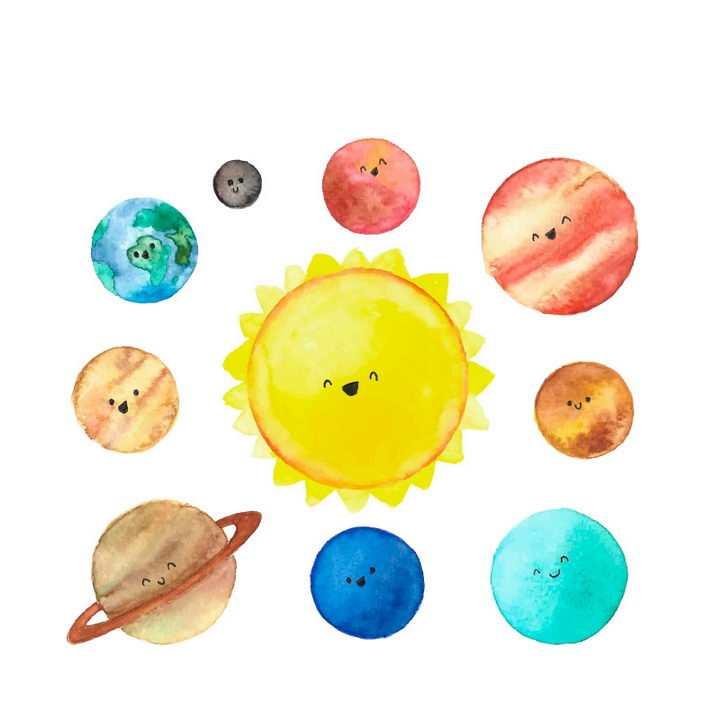 可爱水彩画手绘风格卡通太阳系各大行星天文科普配图图片免抠素材