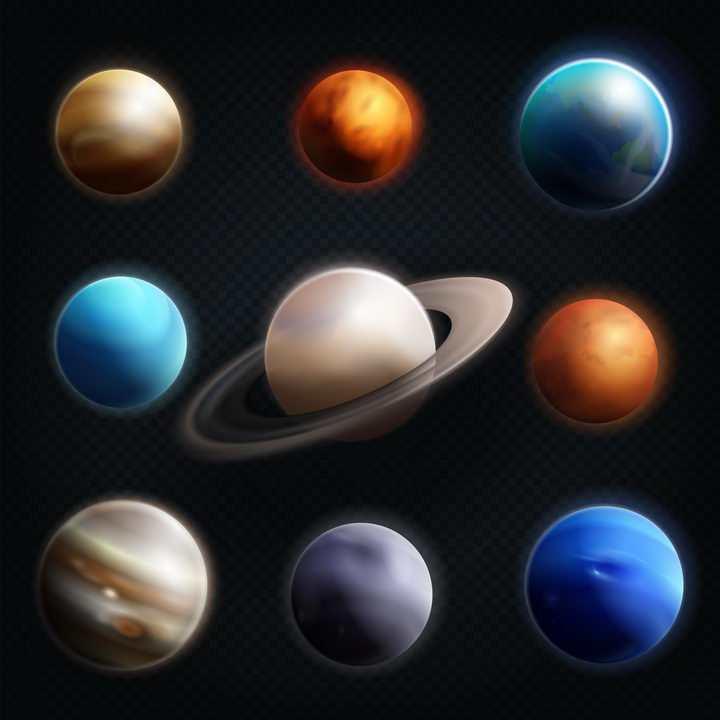 发光的太阳系八大行星逼真星球天文科普图片免抠素材