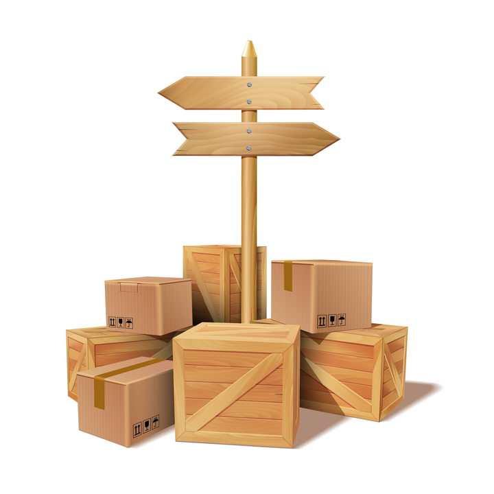 逼真的木箱纸盒子上的指示牌图片免抠素材