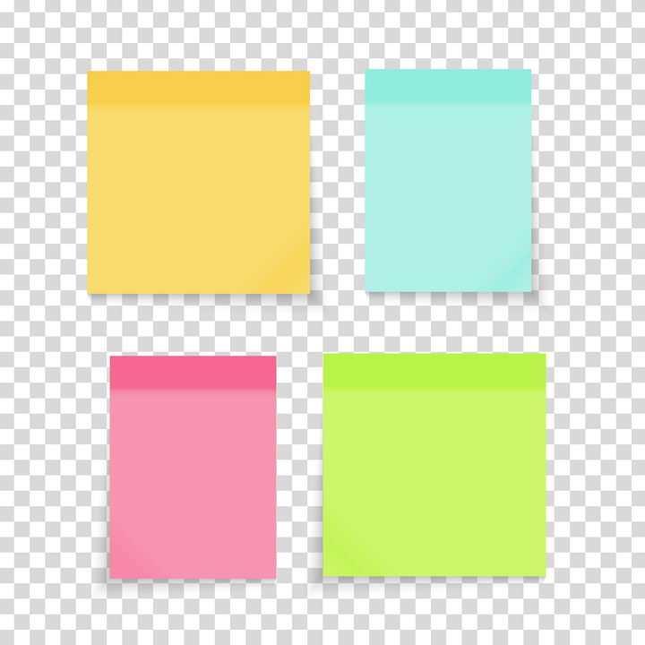4款糖果色风格的便签贴纸图片免抠矢量素材