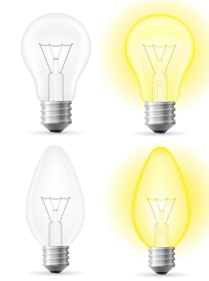 发出黄光的电灯泡白炽灯泡免抠矢量图片素材