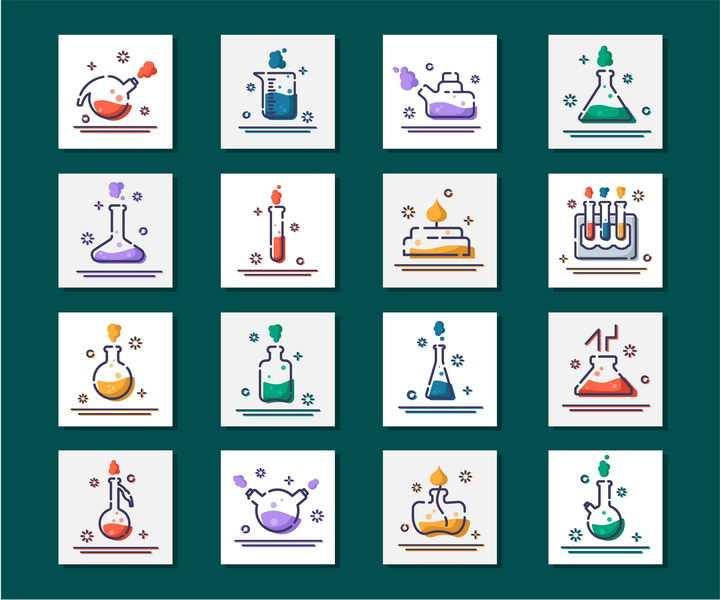 16款mbe风格的化学实验用品图标图片免抠素材
