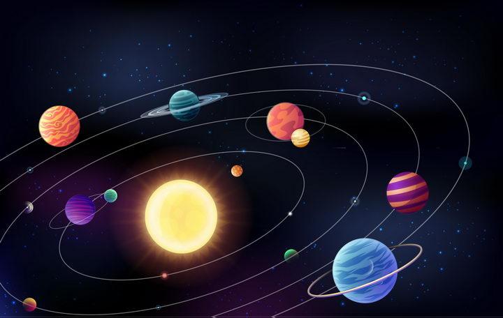 太阳系八大行星轨道示意图天文科普配图图片免抠素材 科学地理-第1张