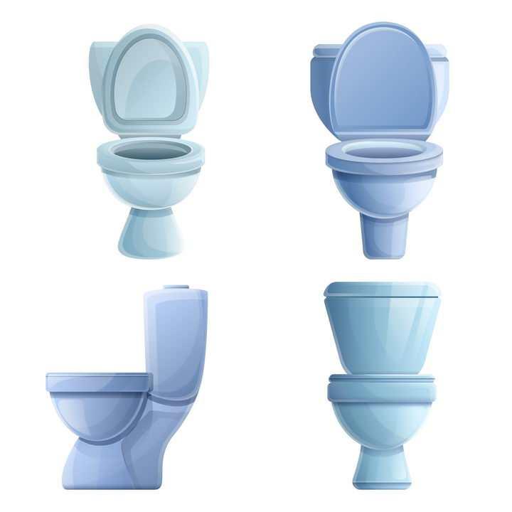 4款卡通抽水马桶坐便器卫生间用品免抠图片素材