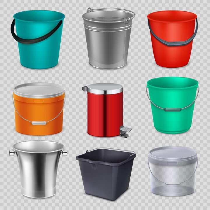 9种不同的垃圾桶水桶塑料桶图片免抠素材