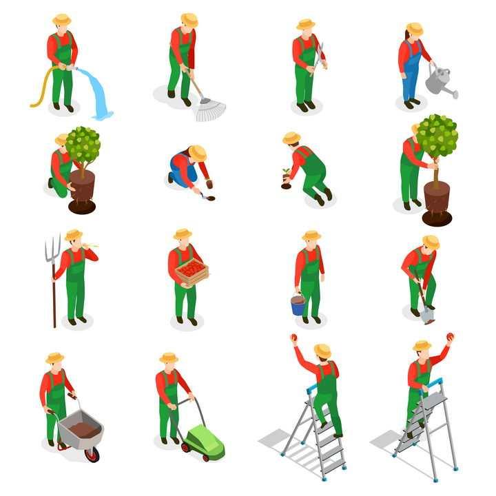 16款2.5D风格正在种植工作的农夫园丁图片免抠素材