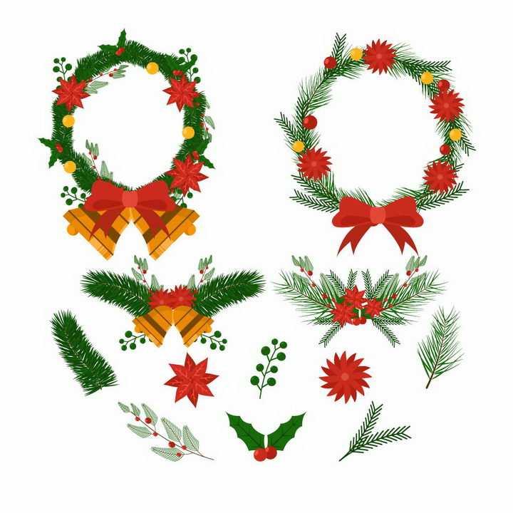 各种圣诞节装饰花环和树叶圣诞果圣诞铃铛免抠图片素材