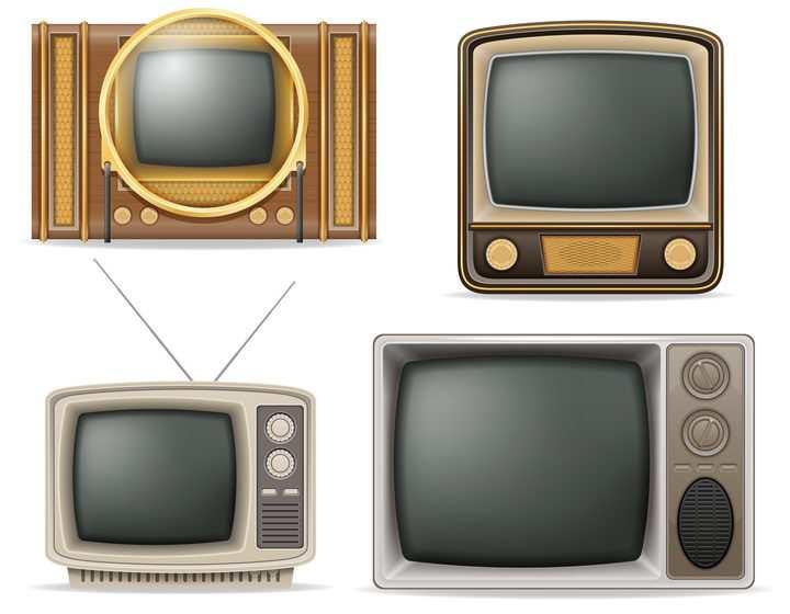 四款复古风格的电视机展示免抠矢量图片素材
