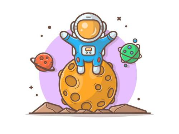 可爱卡通坐在星球上的宇航员宇宙太空探索图片免抠素材