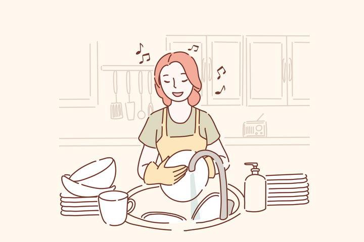 一边唱歌一边洗碗做家务的女孩手绘插画图片免抠素材 插画-第1张