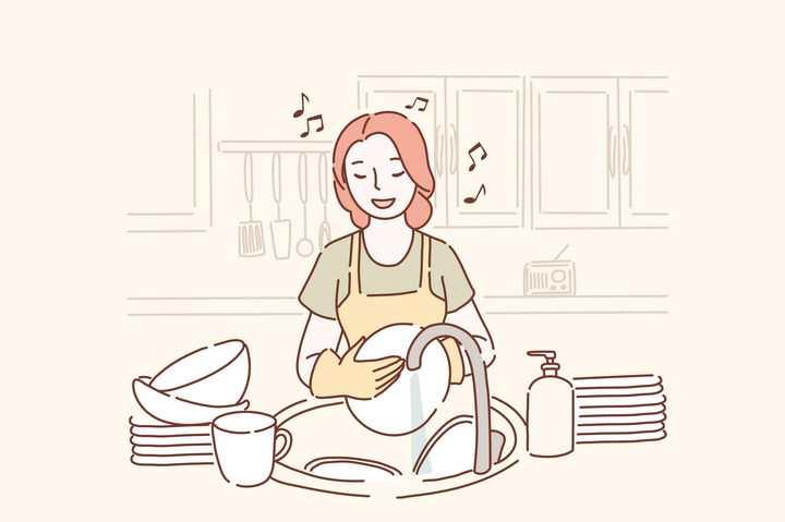 一边唱歌一边洗碗做家务的女孩手绘插画图片免抠素材