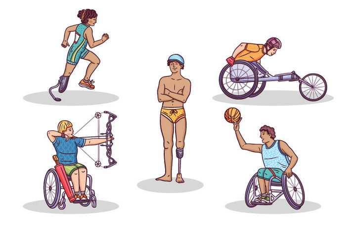 5种不同的残疾人运动会项目跑步轮椅射箭和篮球彩色手绘插画免抠矢量图片素材