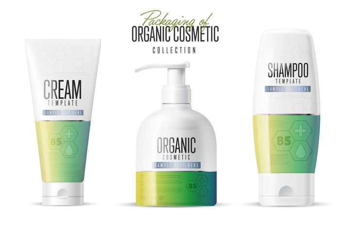 三种不同包装的绿色化妆品护肤品图片免抠矢量素材