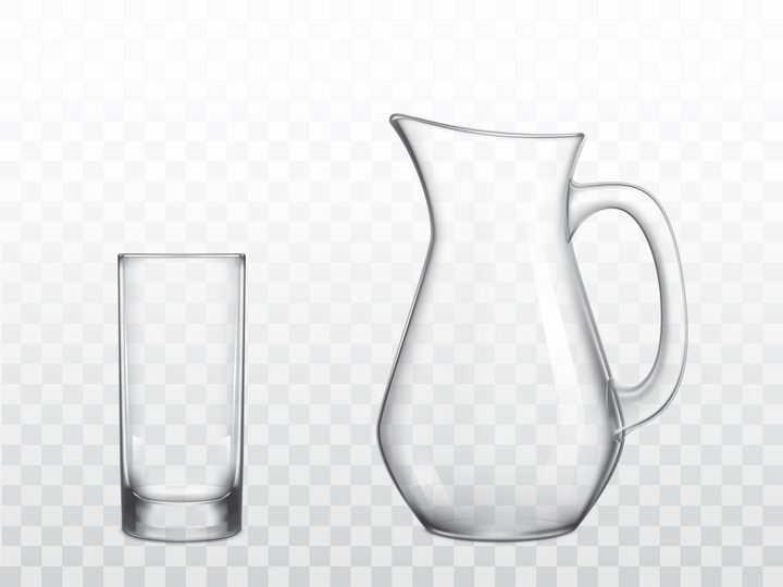 逼真的半透明玻璃水杯饮料杯图片免抠素材