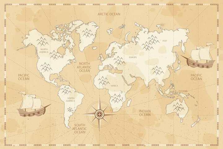 手绘复古风格世界地图背景图免抠图片素材